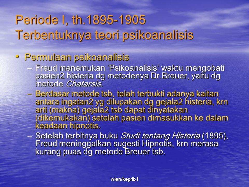 Periode I, th.1895-1905 Terbentuknya teori psikoanalisis