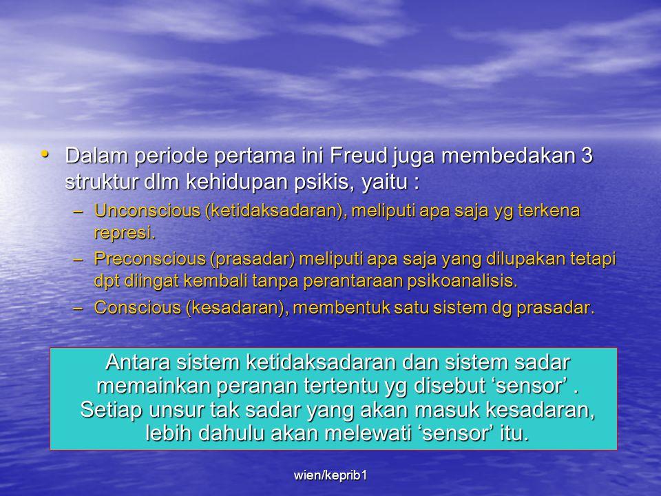 Dalam periode pertama ini Freud juga membedakan 3 struktur dlm kehidupan psikis, yaitu :