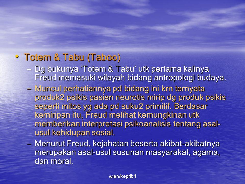 Totem & Tabu (Taboo) Dg bukunya 'Totem & Tabu' utk pertama kalinya Freud memasuki wilayah bidang antropologi budaya.