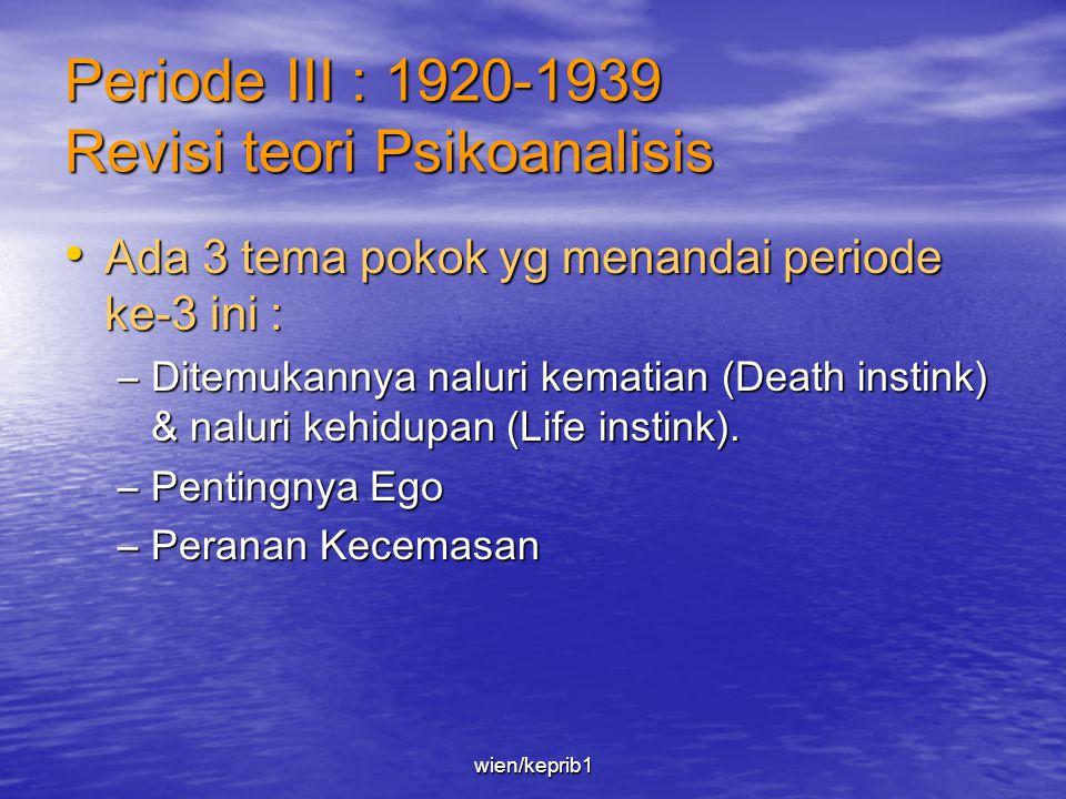 Periode III : 1920-1939 Revisi teori Psikoanalisis