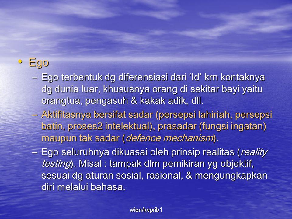 Ego Ego terbentuk dg diferensiasi dari 'Id' krn kontaknya dg dunia luar, khususnya orang di sekitar bayi yaitu orangtua, pengasuh & kakak adik, dll.