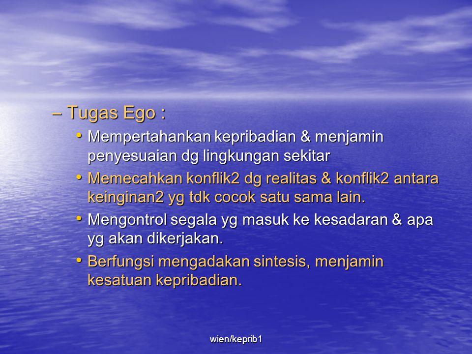 Tugas Ego : Mempertahankan kepribadian & menjamin penyesuaian dg lingkungan sekitar.