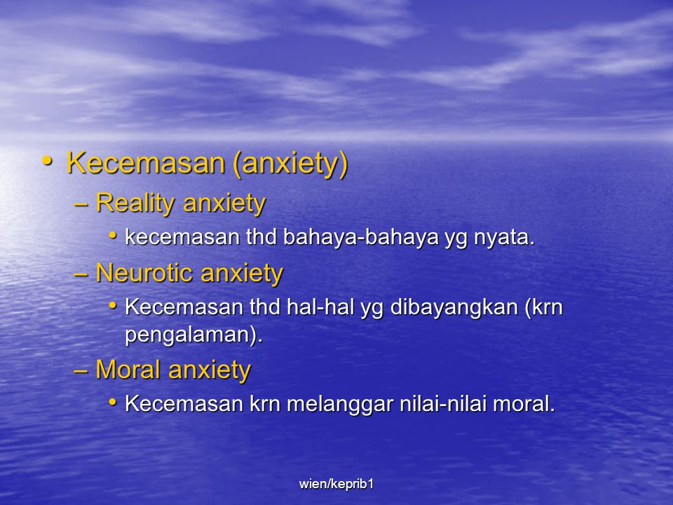 Kecemasan (anxiety) Reality anxiety Neurotic anxiety Moral anxiety