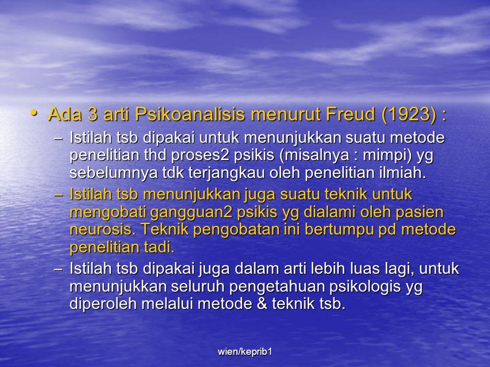 Ada 3 arti Psikoanalisis menurut Freud (1923) :
