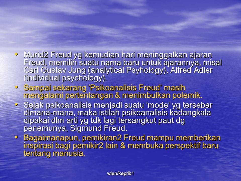 Murid2 Freud yg kemudian hari meninggalkan ajaran Freud, memilih suatu nama baru untuk ajarannya, misal Carl Gustav Jung (analytical Psyhology), Alfred Adler (individual psychology).