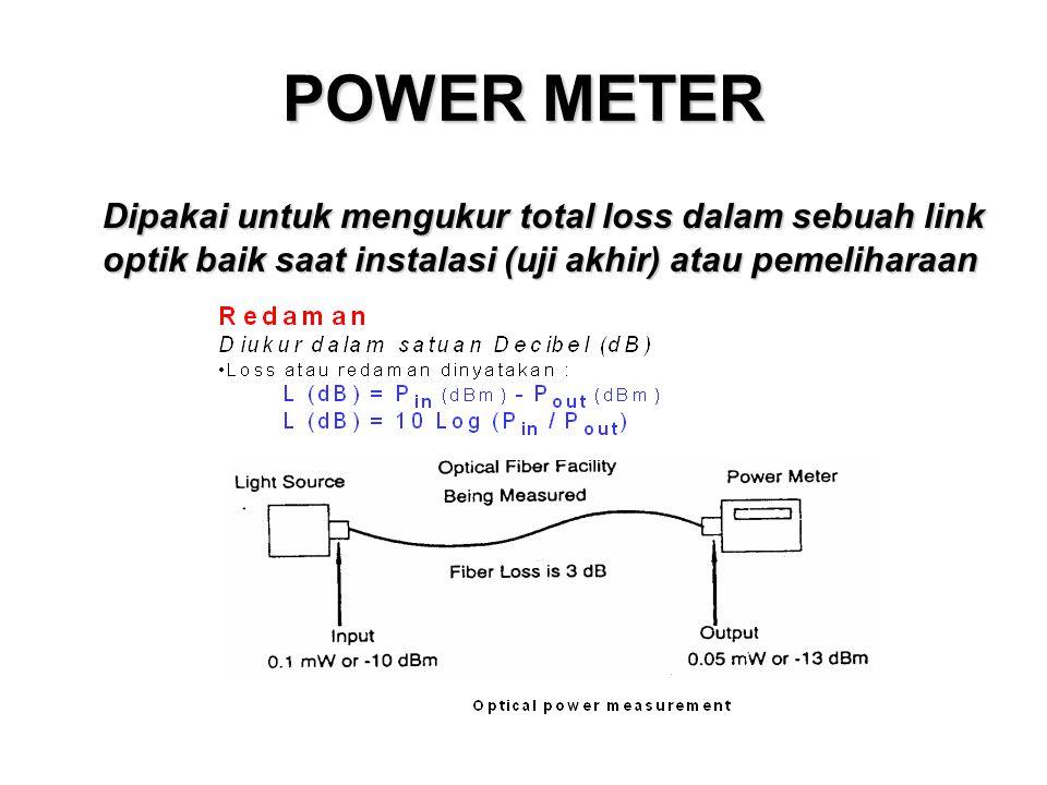 POWER METER Dipakai untuk mengukur total loss dalam sebuah link optik baik saat instalasi (uji akhir) atau pemeliharaan.
