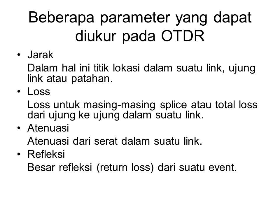 Beberapa parameter yang dapat diukur pada OTDR