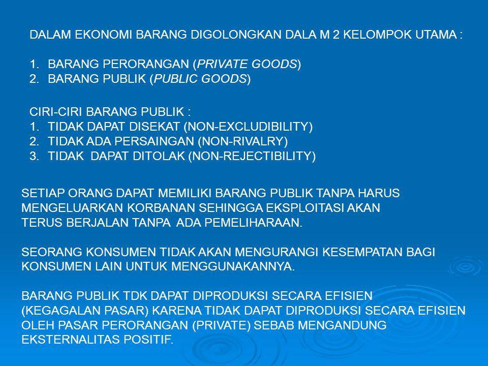 DALAM EKONOMI BARANG DIGOLONGKAN DALA M 2 KELOMPOK UTAMA :