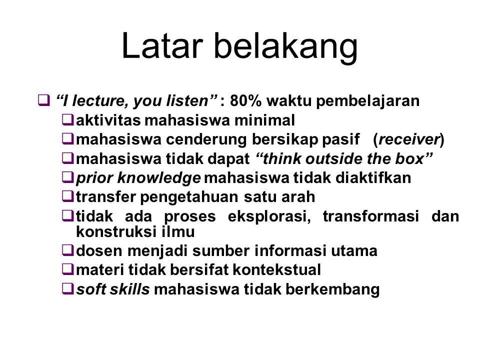 Latar belakang I lecture, you listen : 80% waktu pembelajaran