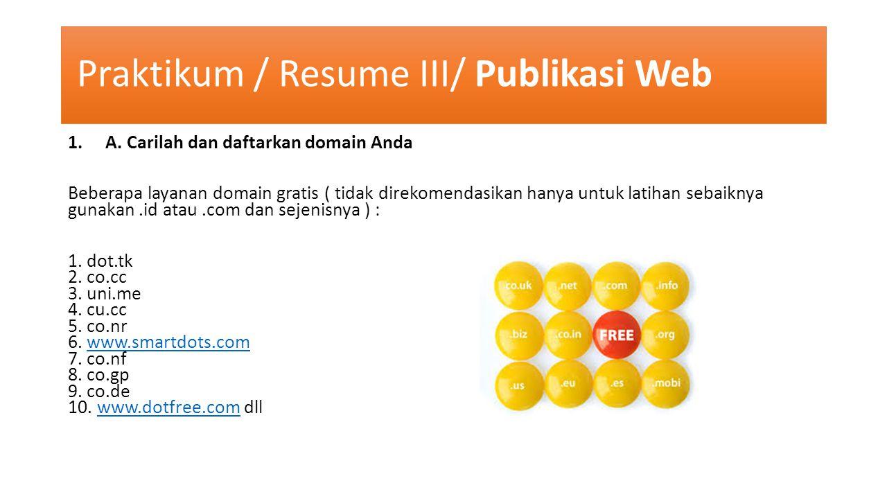 Praktikum / Resume III/ Publikasi Web