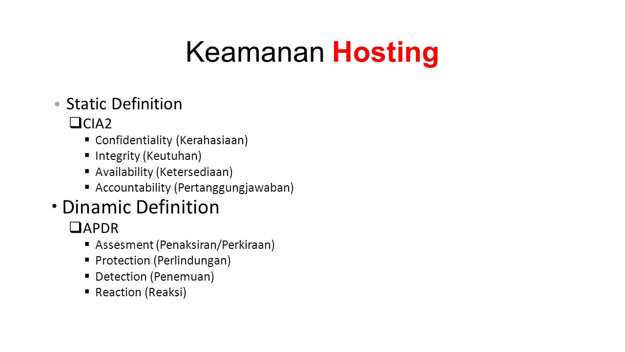 Keamanan Hosting Dinamic Definition Static Definition CIA2 APDR