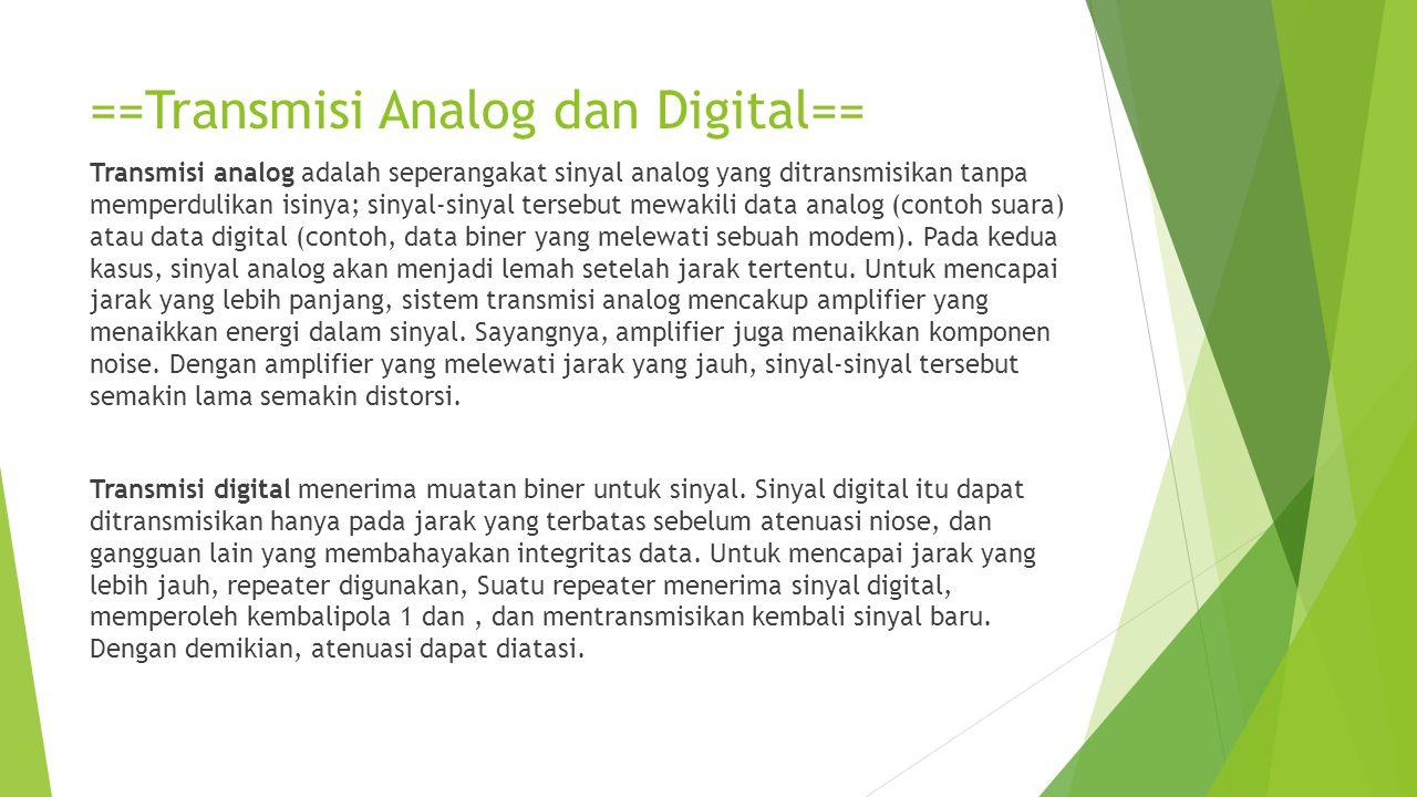 ==Transmisi Analog dan Digital==