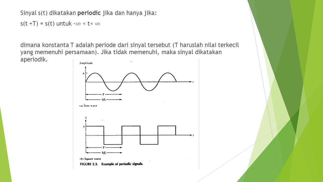 Sinyal s(t) dikatakan periodic jika dan hanya jika: s(t +T) = s(t) untuk -∞ < t< ∞ dimana konstanta T adalah periode dari sinyal tersebut (T haruslah nilai terkecil yang memenuhi persamaan).