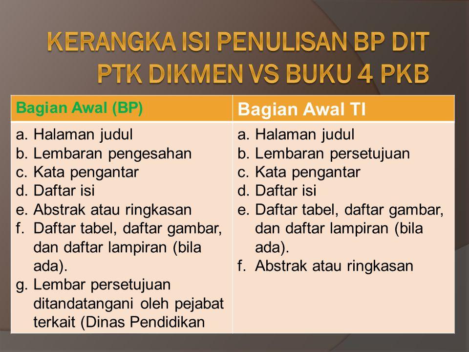 Kerangka isi penulisan BP DIT PTK DIKMEN VS BUKU 4 PKB
