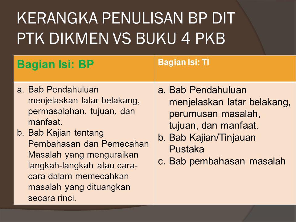 KERANGKA PENULISAN BP DIT PTK DIKMEN VS BUKU 4 PKB