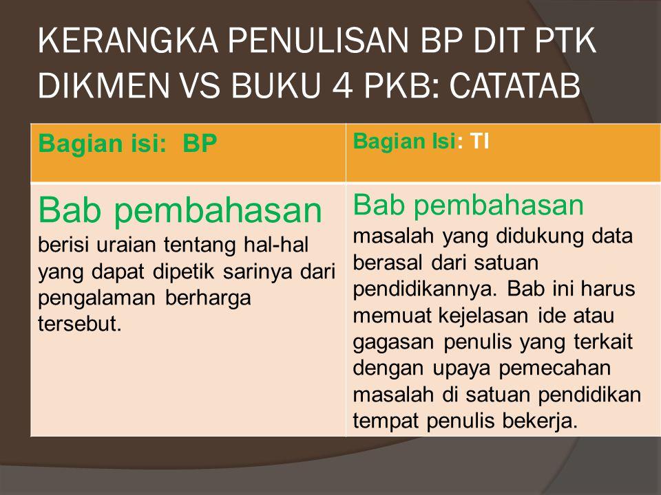 KERANGKA PENULISAN BP DIT PTK DIKMEN VS BUKU 4 PKB: CATATAB