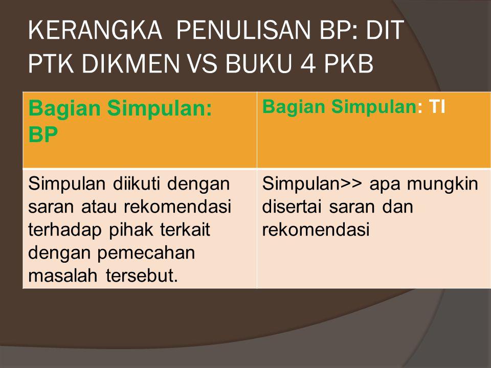 KERANGKA PENULISAN BP: DIT PTK DIKMEN VS BUKU 4 PKB