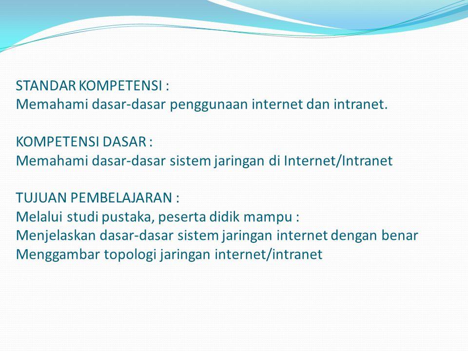 STANDAR KOMPETENSI : Memahami dasar-dasar penggunaan internet dan intranet.