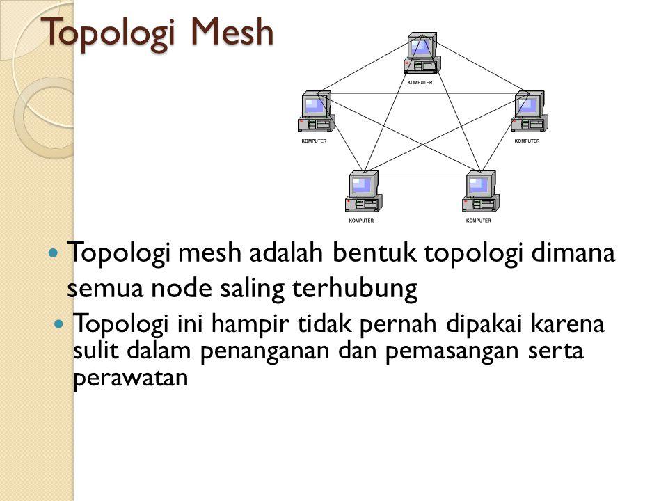 Topologi Mesh Topologi mesh adalah bentuk topologi dimana semua node saling terhubung.