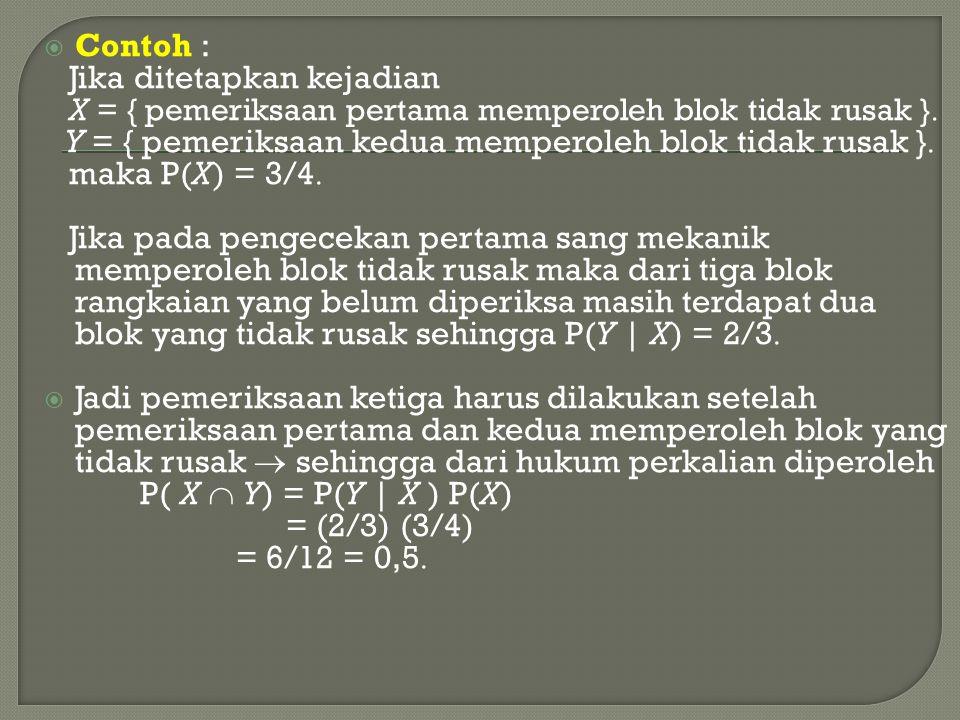 Contoh : Jika ditetapkan kejadian. X = { pemeriksaan pertama memperoleh blok tidak rusak } Y = { pemeriksaan kedua memperoleh blok tidak rusak }