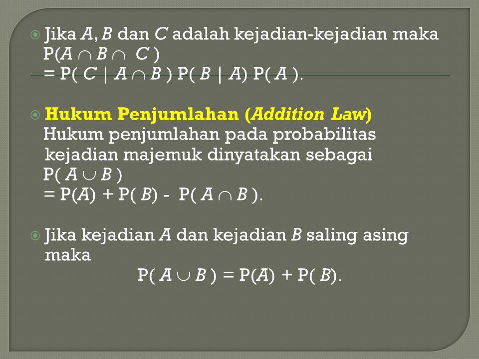 Jika A, B dan C adalah kejadian-kejadian maka