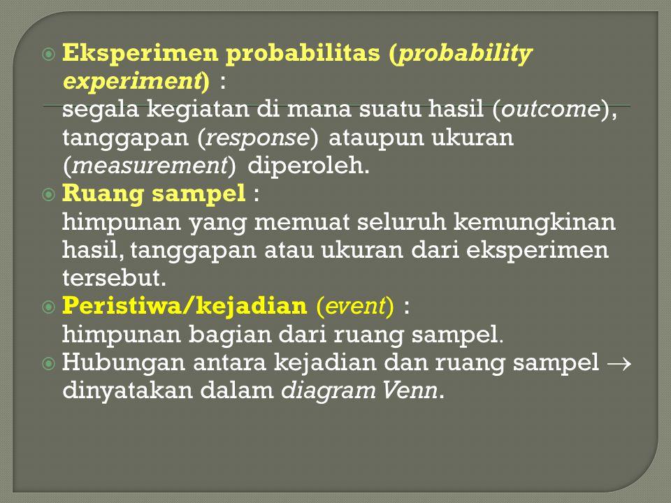 Eksperimen probabilitas (probability experiment) :