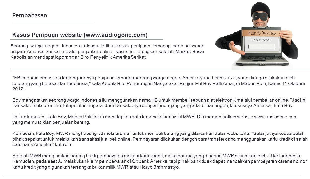 Pembahasan Kasus Penipuan website (www.audiogone.com)