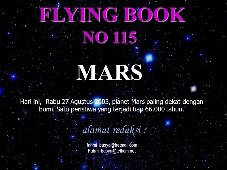 MARS FLYING BOOK NO 115 alamat redaksi :