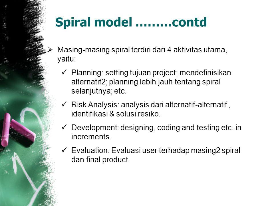 Spiral model ………contd Masing-masing spiral terdiri dari 4 aktivitas utama, yaitu: