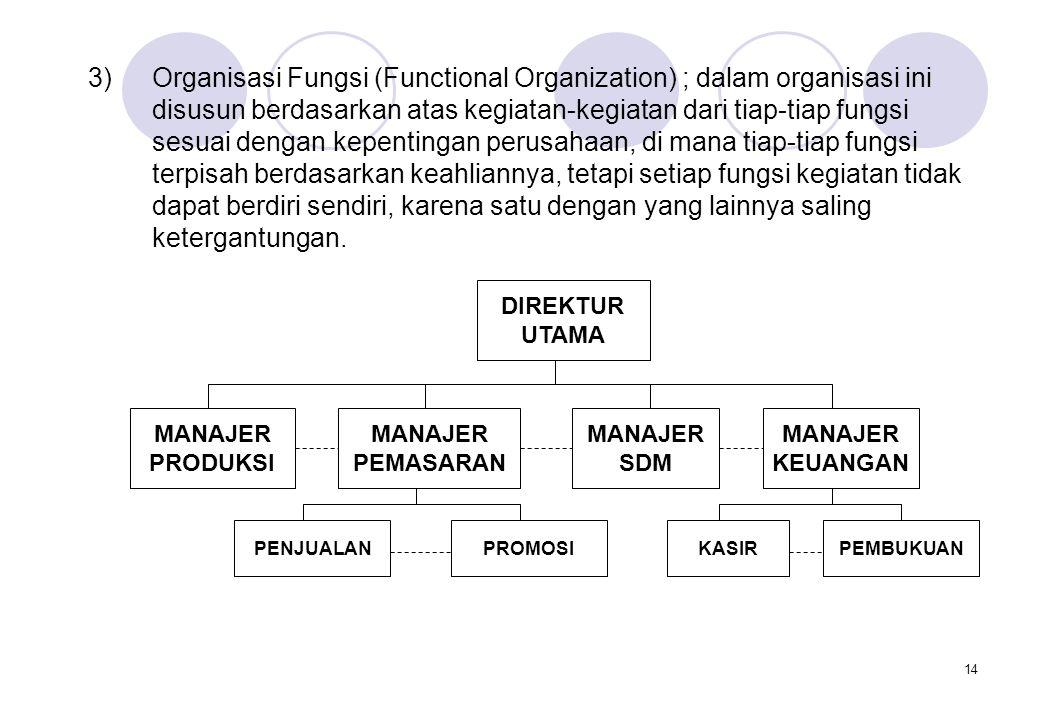 Organisasi Fungsi (Functional Organization) ; dalam organisasi ini disusun berdasarkan atas kegiatan-kegiatan dari tiap-tiap fungsi sesuai dengan kepentingan perusahaan, di mana tiap-tiap fungsi terpisah berdasarkan keahliannya, tetapi setiap fungsi kegiatan tidak dapat berdiri sendiri, karena satu dengan yang lainnya saling ketergantungan.
