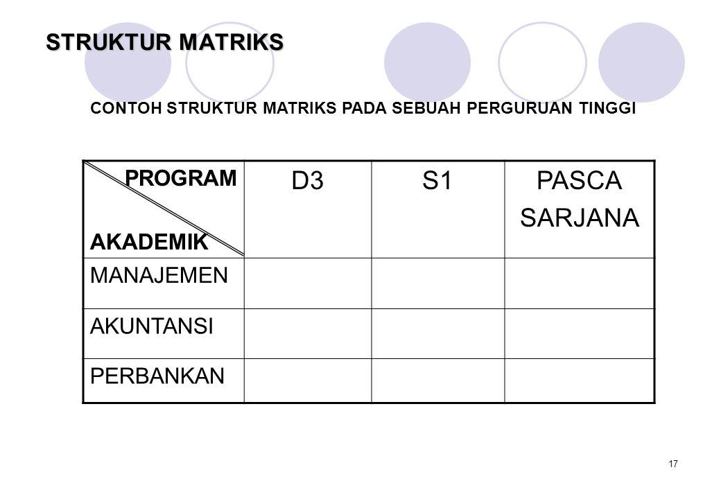 D3 S1 PASCA SARJANA STRUKTUR MATRIKS PROGRAM AKADEMIK MANAJEMEN