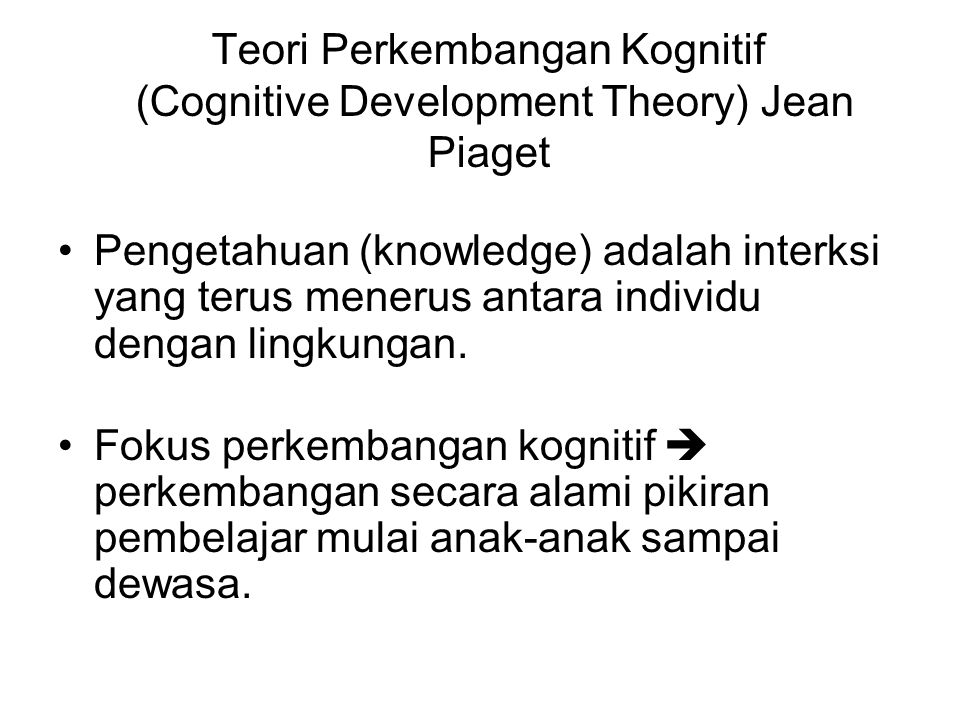 an analysis of the cognitive development theory by jean piaget Piaget's stage theory of cognitive development is a description of cognitive development as four distinct stages in children: sensorimotor, preoperational, concrete, and formal.
