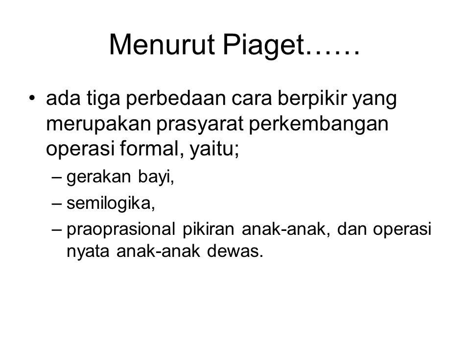 Menurut Piaget…… ada tiga perbedaan cara berpikir yang merupakan prasyarat perkembangan operasi formal, yaitu;