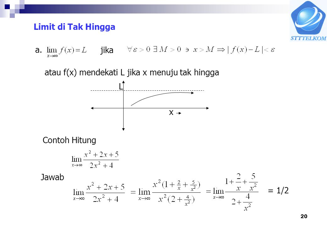 Limit di Tak Hingga a. jika. atau f(x) mendekati L jika x menuju tak hingga. L. x. Contoh Hitung.