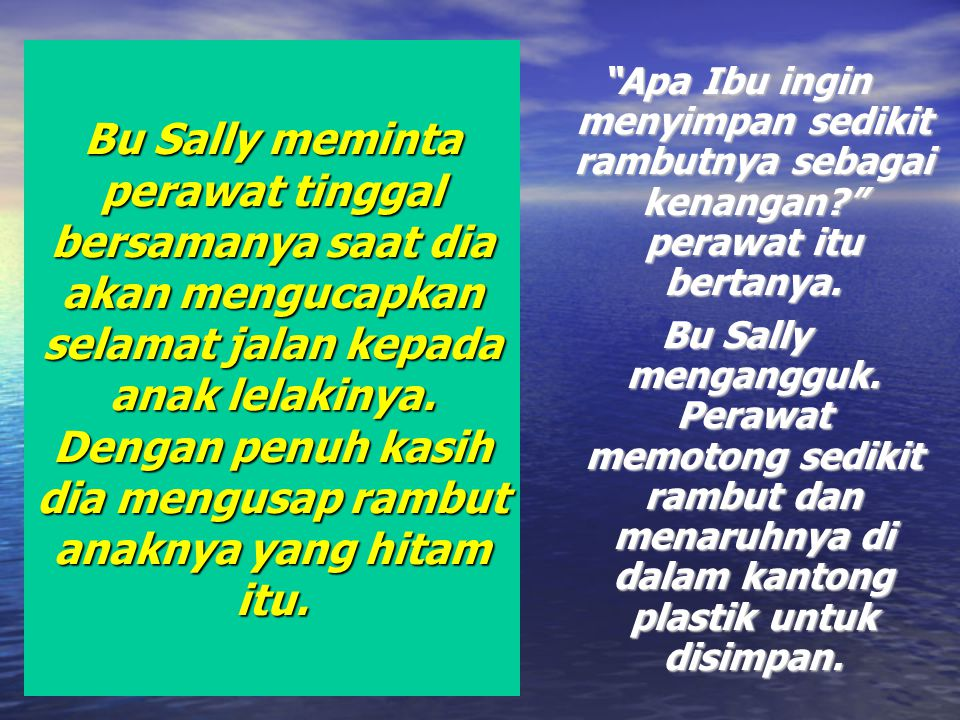 Bu Sally meminta perawat tinggal bersamanya saat dia akan mengucapkan selamat jalan kepada anak lelakinya. Dengan penuh kasih dia mengusap rambut anaknya yang hitam itu.