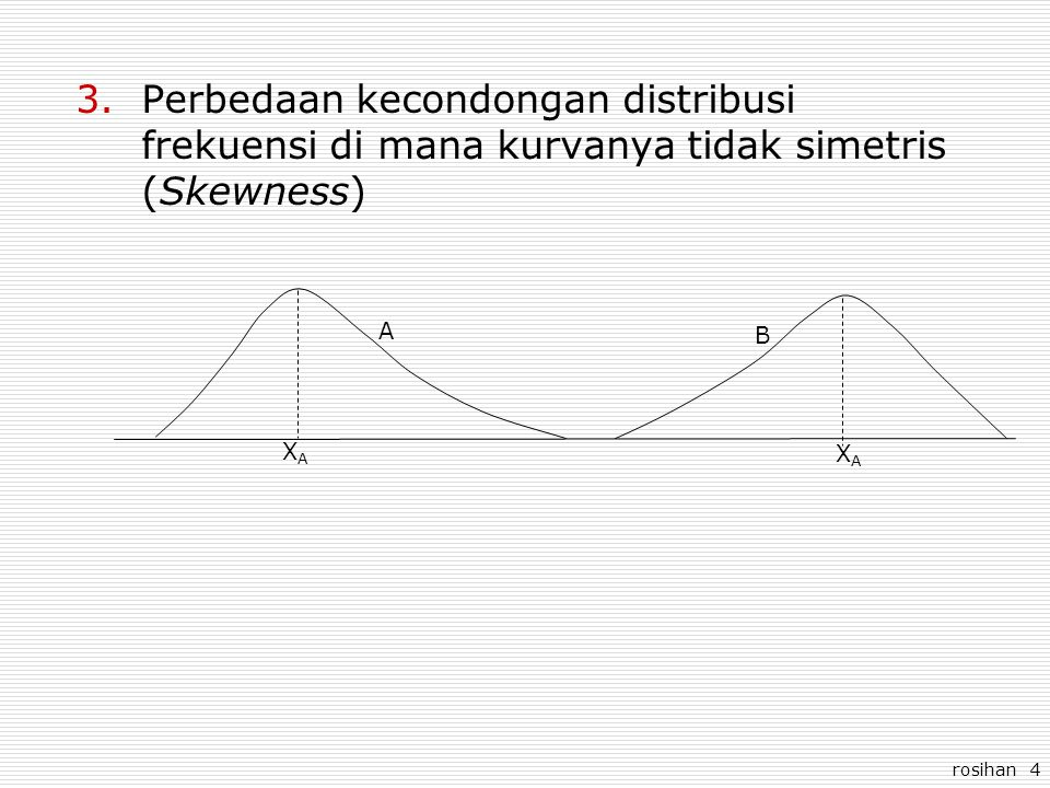 Perbedaan kecondongan distribusi frekuensi di mana kurvanya tidak simetris (Skewness)