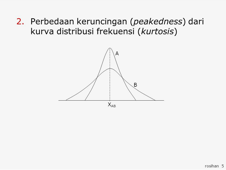 Perbedaan keruncingan (peakedness) dari kurva distribusi frekuensi (kurtosis)