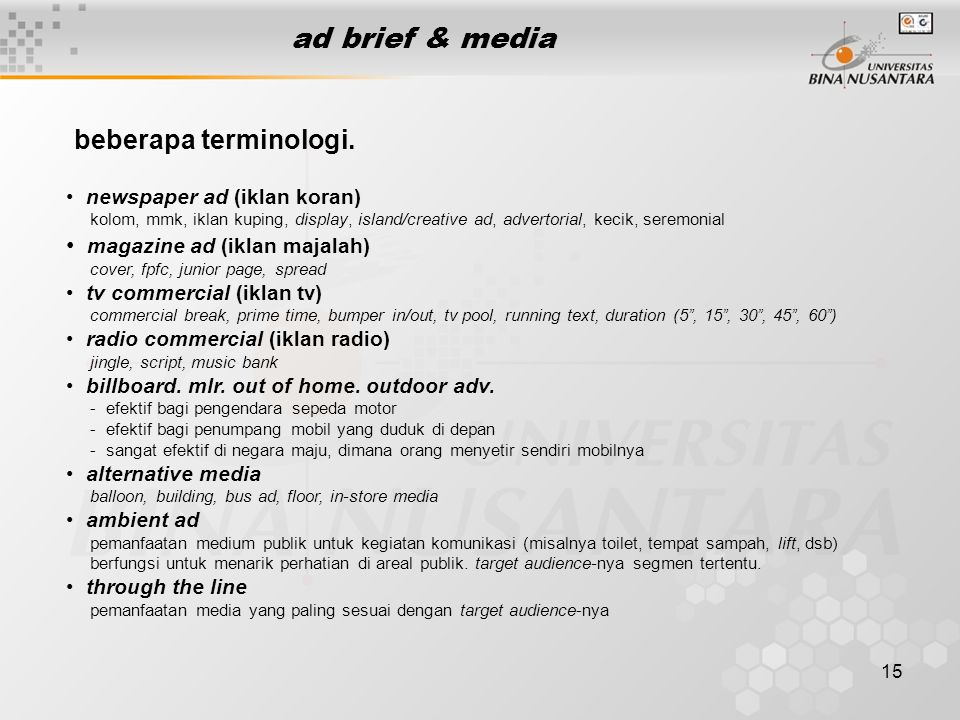 ad brief & media beberapa terminologi. magazine ad (iklan majalah)