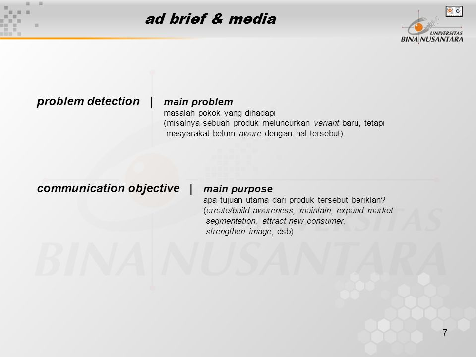 ad brief & media problem detection | communication objective |