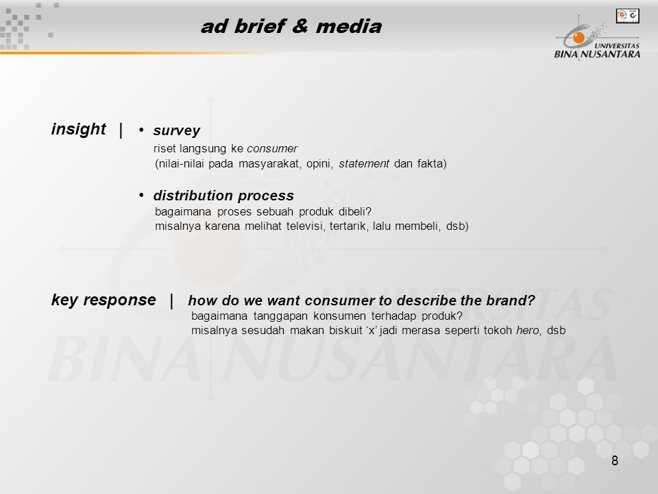 ad brief & media insight | survey distribution process key response |