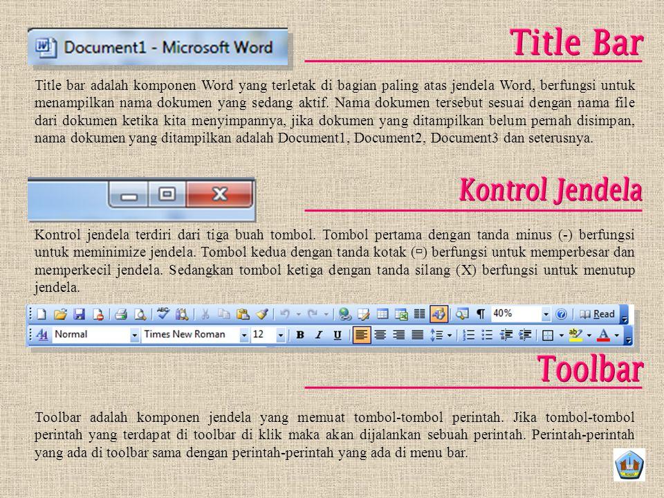 Title Bar Kontrol Jendela Toolbar