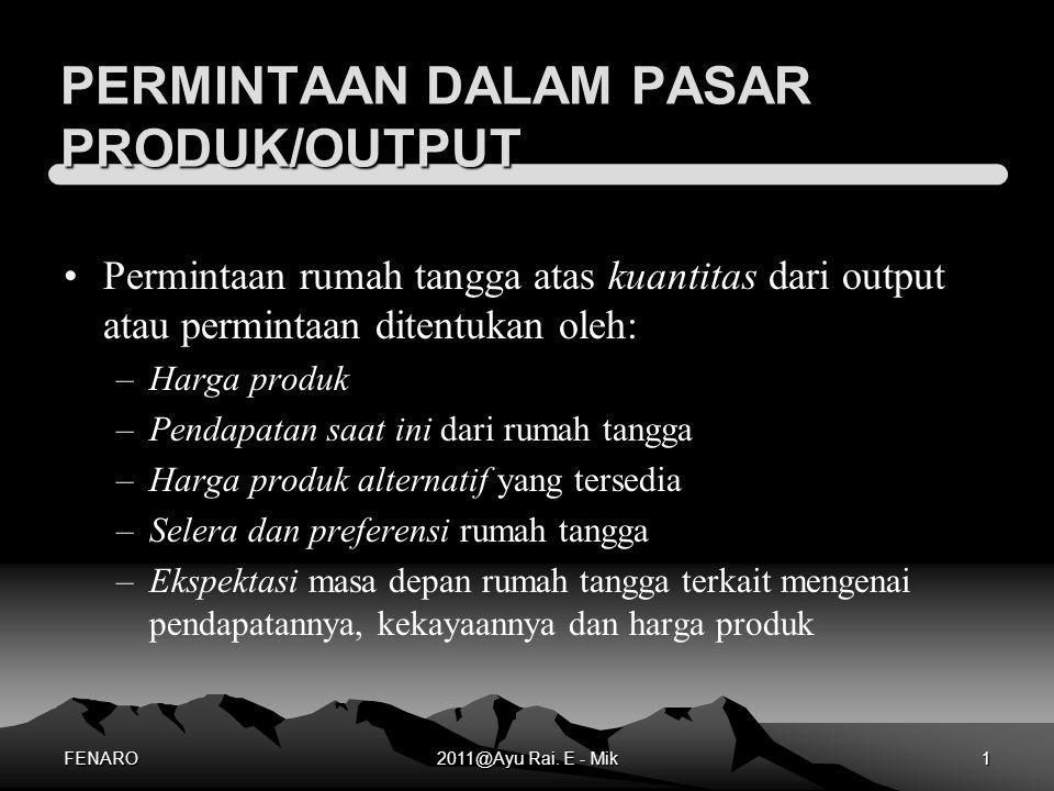 PERMINTAAN DALAM PASAR PRODUK/OUTPUT