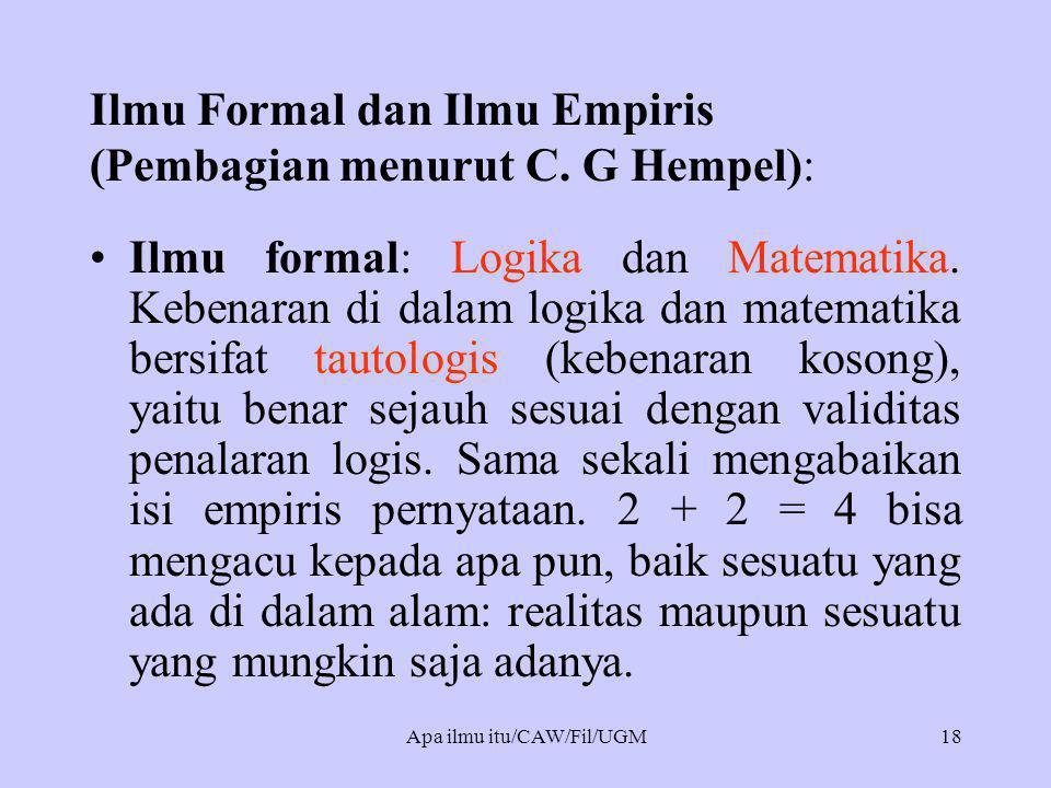 Ilmu Formal dan Ilmu Empiris (Pembagian menurut C. G Hempel):