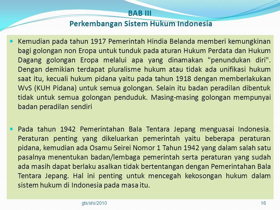 BAB III Perkembangan Sistem Hukum Indonesia