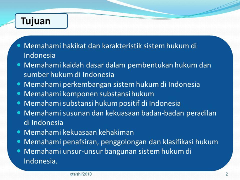 Tujuan Memahami hakikat dan karakteristik sistem hukum di Indonesia