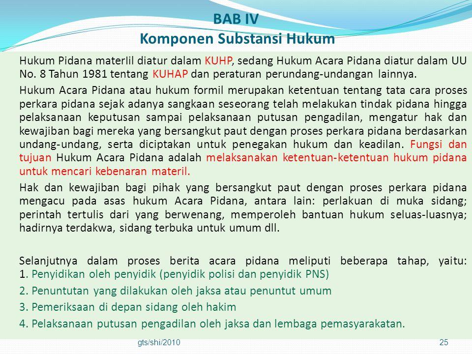 BAB IV Komponen Substansi Hukum