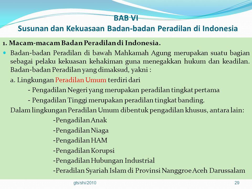 BAB VI Susunan dan Kekuasaan Badan-badan Peradilan di Indonesia