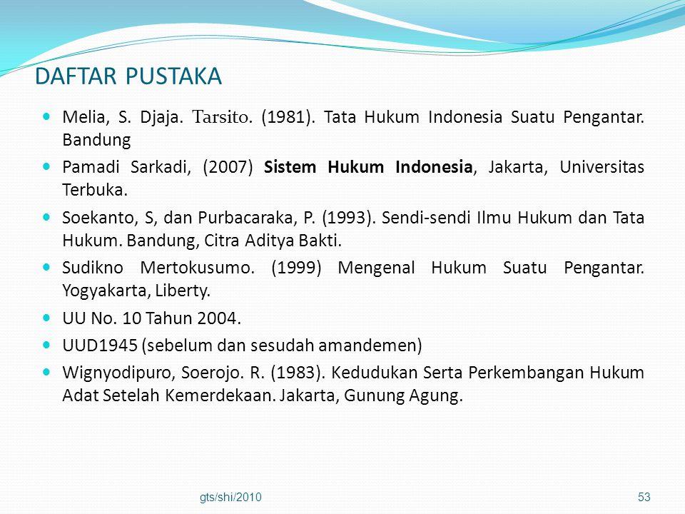 DAFTAR PUSTAKA Melia, S. Djaja. Tarsito. (1981). Tata Hukum Indonesia Suatu Pengantar. Bandung.