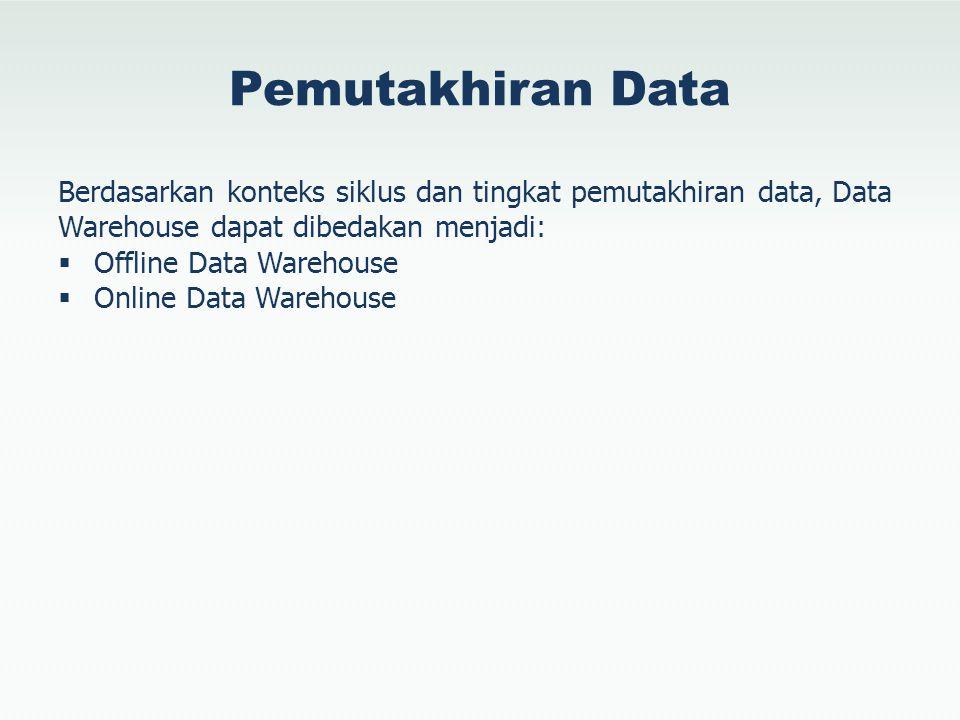Pemutakhiran Data Berdasarkan konteks siklus dan tingkat pemutakhiran data, Data Warehouse dapat dibedakan menjadi: