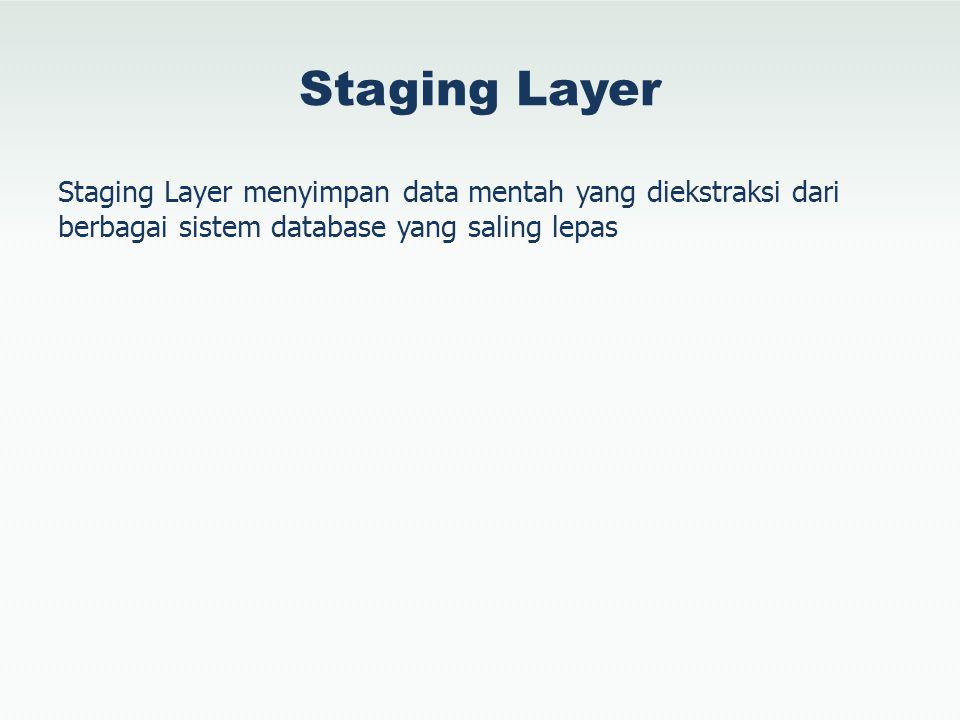 Staging Layer Staging Layer menyimpan data mentah yang diekstraksi dari berbagai sistem database yang saling lepas.